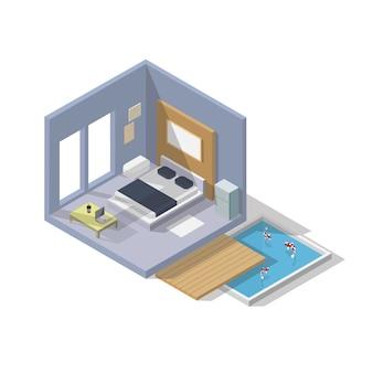 Icona camera da letto isometrica di vettore