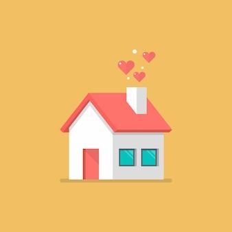 Icona casa con cuori