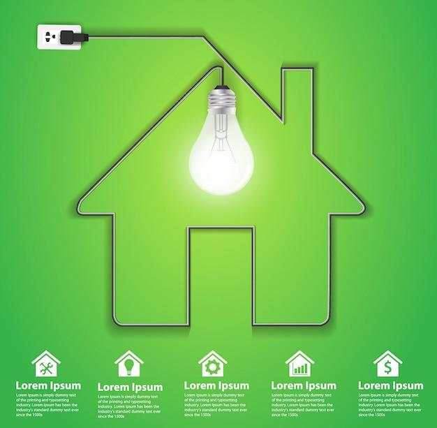Icona casa vettoriale con lampadina creativa