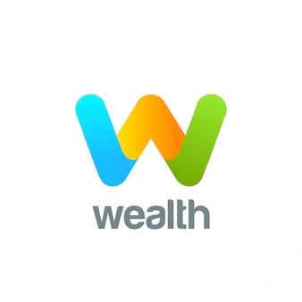 Icona creativa di vettore del logo della lettera w.
