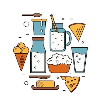 Icona da latte impostata in stile linea