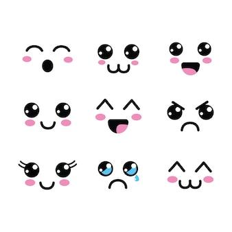 Icona degli occhi di facce kawaii