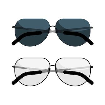 Icona degli occhiali da sole e degli occhiali da sole isolata su fondo bianco.