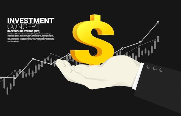Icona dei piccoli soldi in mano dell'uomo d'affari con il fondo crescente del grafico. investimenti di successo e crescita negli affari