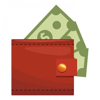 Icona dei soldi del portafogli