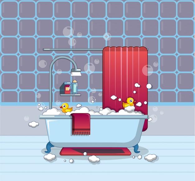 Icona del bagno di casa, stile cartoon