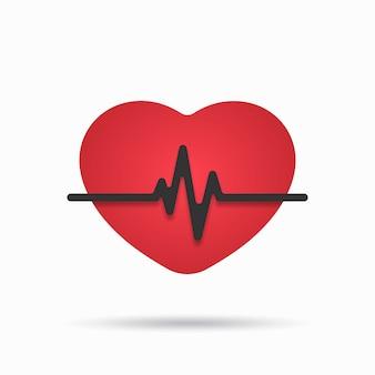 Icona del battito cardiaco su sfondo bianco