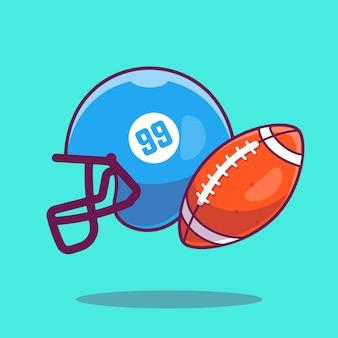 Icona del calcio. pallone da rugby e casco da football, icona dello sport isolata