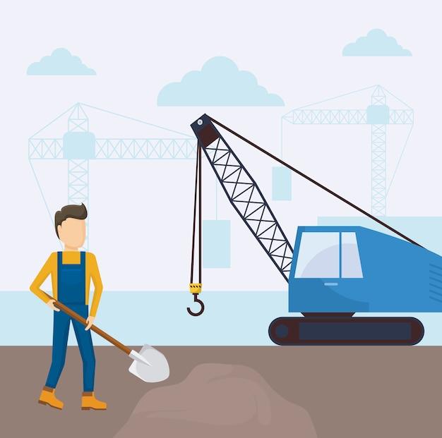 Icona del camion gru in costruzione