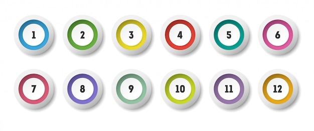 Icona del cerchio 3d impostata con il punto elenco numerato da 1 a 12.