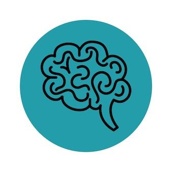 Icona del cervello disegnato a mano su sfondo verde acqua e bianco. illustrazione vettoriale