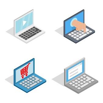 Icona del computer portatile impostata su sfondo bianco