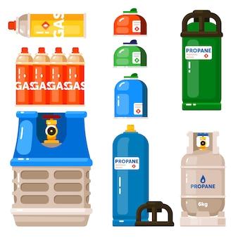 Icona del contenitore di gas impostata su sfondo bianco
