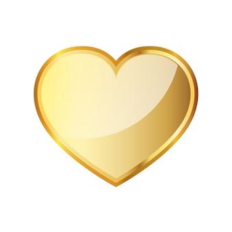 Icona del cuore d'oro. illustrazione vettoriale.