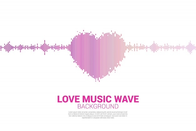 Icona del cuore dell'onda sonora sfondo di equalizzatore musicale