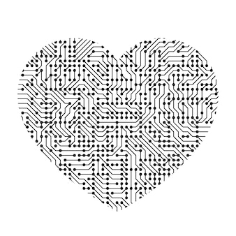 Icona del cuore simbolo dell'amore da componente stampato nero, chip e radio.