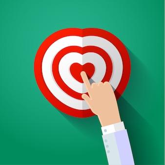 Icona del cuore umano con la mano