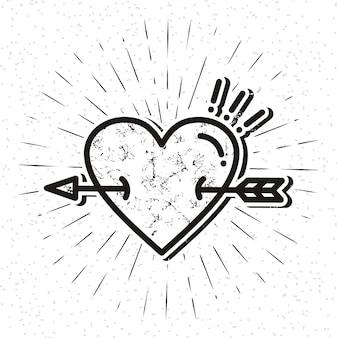 Icona del cuore vintage con sunburst