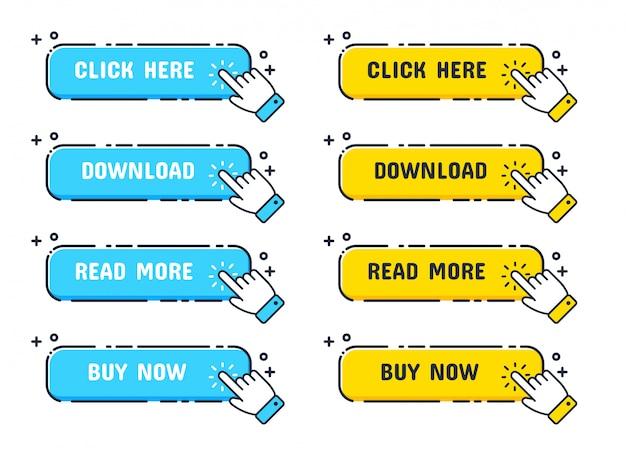 Icona del cursore mano con pulsanti blu e gialli fare clic qui per un collegamento al sito web.