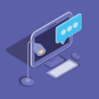 Icona del dispositivo tecnologia desktop computer
