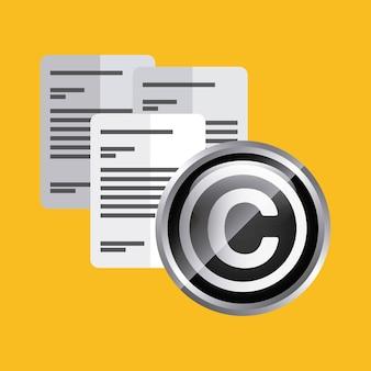 Icona del documento design del copyright. grafica vettoriale