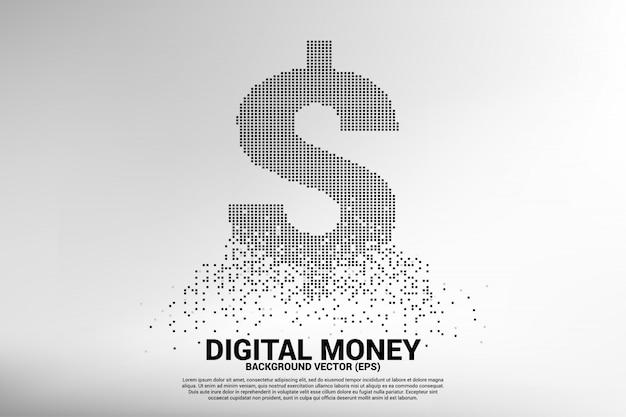 Icona del dollaro dei soldi di vettore dal pixel quadrato volante.