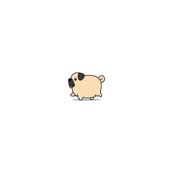 Icona del fumetto di camminata del cane grasso carino carlino