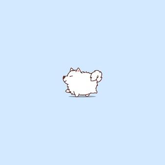 Icona del fumetto di camminata del cane grasso samoiedo carino