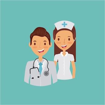 Icona del fumetto di infermiere e medico