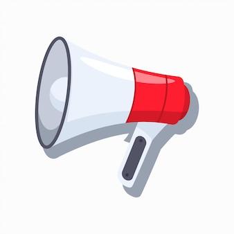 Icona del fumetto di vettore del megafono isolata su fondo bianco.