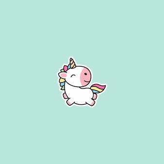 Icona del fumetto di volo unicorno carino