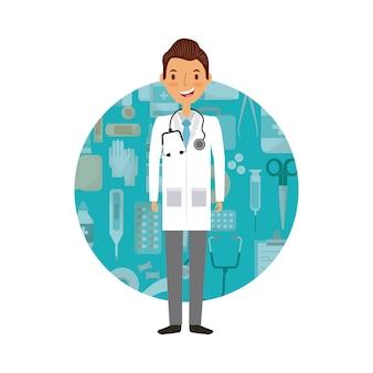 Icona del fumetto uomo medico
