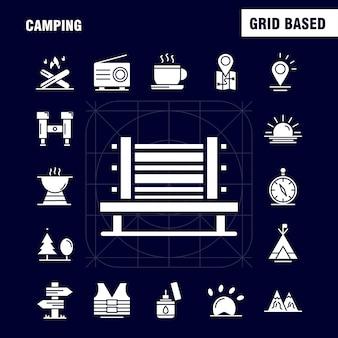 Icona del glifo solido campeggio