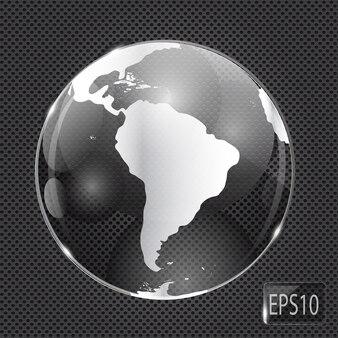 Icona del globo di vetro su metallo