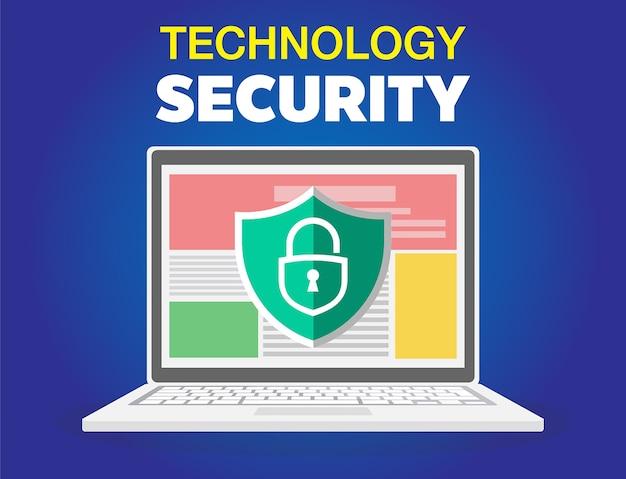 Icona del laptop protetta. illustrazione piana dell'icona di vettore del laptop assicurato per il web isolato