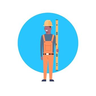 Icona del lavoratore di costruzione african american builder man wearing helmet