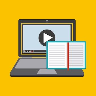 Icona del libro e del computer portatile. design di audiolibri. grafica vettoriale