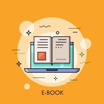 Icona del libro elettronico, concetto di lettura digitale