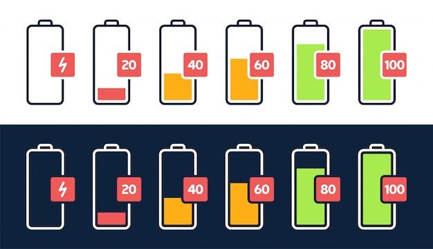 Icona del livello di energia. caricare il carico, l'indicatore della batteria del telefono, il livello di potenza dello smartphone, l'energia dell'accumulatore vuota e le icone di stato complete impostate. fasi di ricarica del gadget. carica percentuale di energia