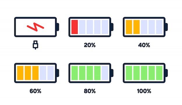 Icona del livello di energia. caricare il carico, l'indicatore della batteria del telefono, il livello di potenza dello smartphone, l'energia dell'accumulatore vuota e le icone di stato complete impostate.