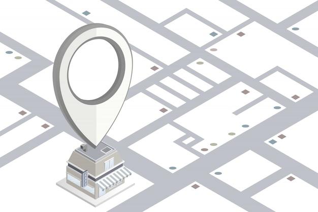Icona del localizzatore che mostra sul negozio di caffè in vista isometrica
