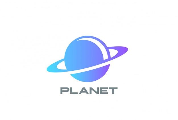 Icona del logo del pianeta mondo. stile spazio negativo