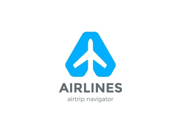 Icona del logo del puntatore del navigatore dell'aeroplano. stile spazio negativo.