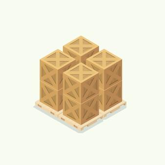 Icona del magazzino di scatola di legno. illustrazione vettoriale isometrica
