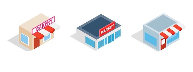 Icona del mercato cittadino impostata su sfondo bianco