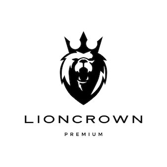 Icona del modello logo testa di re leone corona