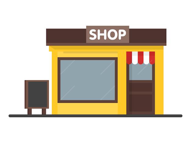 Icona del negozio di facciata negozio con cartello. concetto di modello per sito web, pubblicità e vendite