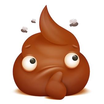 Icona del personaggio dei cartoni animati di emoji cacca riflessivo.