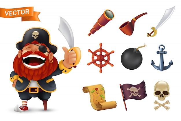 Icona del pirata del mare con il personaggio del capitano dalla barba rossa, teschio umano, sciabola, ancora, volante, cannocchiale, bomba, pipa, bandiera jolly roger nera e mappa del tesoro. illustrazione isolata su bianco