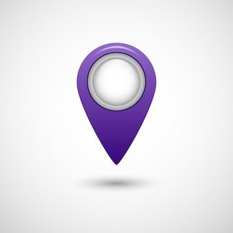 Icona del puntatore realistico per colore viola mappa su sfondo grigio isolato